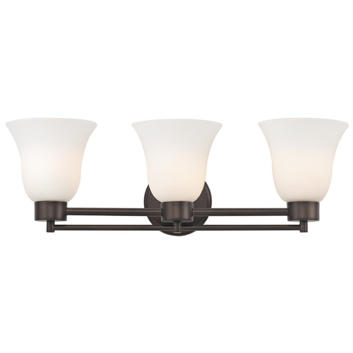 Design Classics Lighting Modern Bathroom Light with White Glass in Bronze Finish 703-220 GL9222-WH