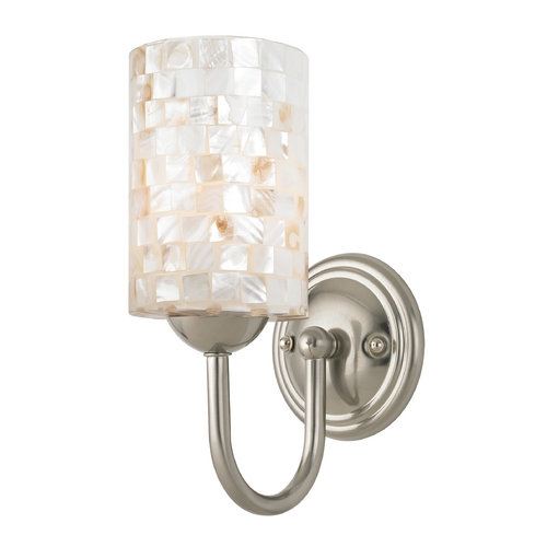 Design Classics Lighting Sconce with Mosaic Glass in Satin Nickel Finish 593-09 GL1026C