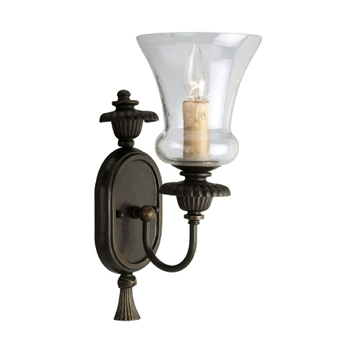 Progress Lighting Progress Sconce Wall Light with Clear Glass in Forged Bronze Finish P2951-77