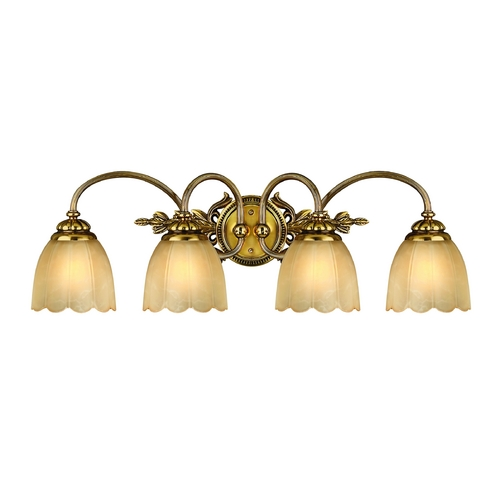 Hinkley Lighting Bathroom Light with Beige / Cream Glass in Burnished Brass Finish 5394BB