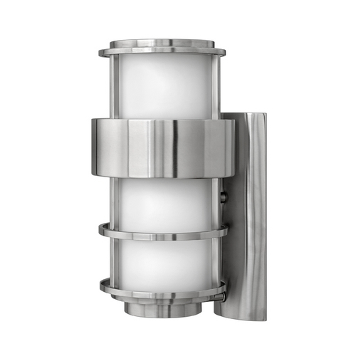 Hinkley Modern Outdoor Wall Light with White Glass in Stainless Steel Finish 1904SS