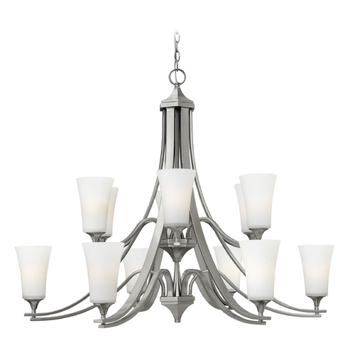 Hinkley Lighting Mini-Chandelier with White Glass in Brushed Nickel Finish 4639BN