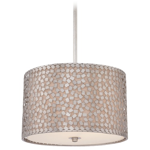 Quoizel Lighting Modern Drum Pendant Light in Old Silver Finish CKCF2816OS