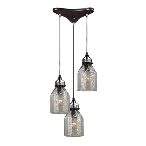 Elk Lighting Multi-Light Pendant Light with Mercury Glass and 3-Lights 46009/3