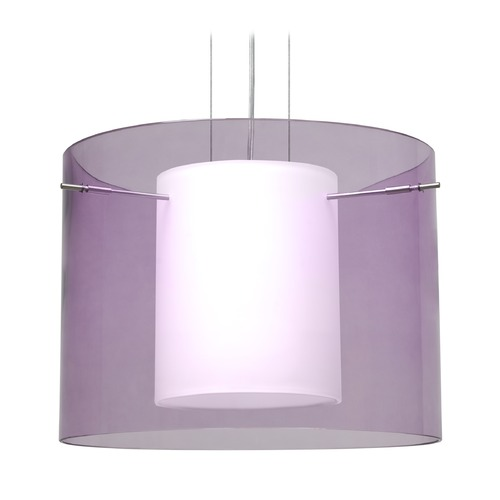 Besa Lighting Besa Lighting Pahu Satin Nickel LED Pendant Light with Drum Shade 1KG-A00707-LED-SN