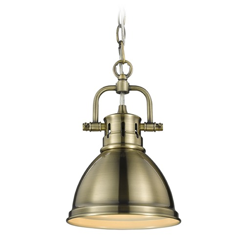 Golden Lighting Golden Lighting Duncan Ab Aged Brass Mini-Pendant Light with Bowl / Dome Shade 3602-M1L AB-AB