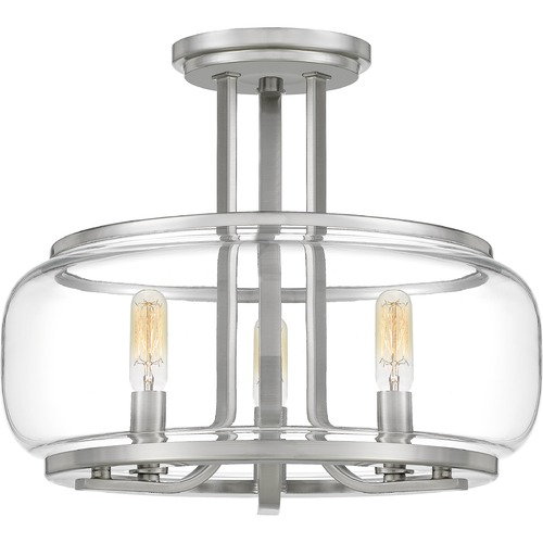 Quoizel Lighting Quoizel Lighting Pruitt Brushed Nickel Semi-Flushmount Light PRUC1714BN