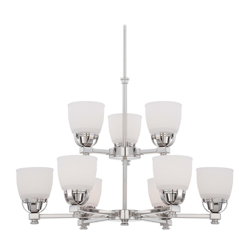 Minka Lavery Modern Chandelier with White Glass in Polished Nickel Finish 1509-613