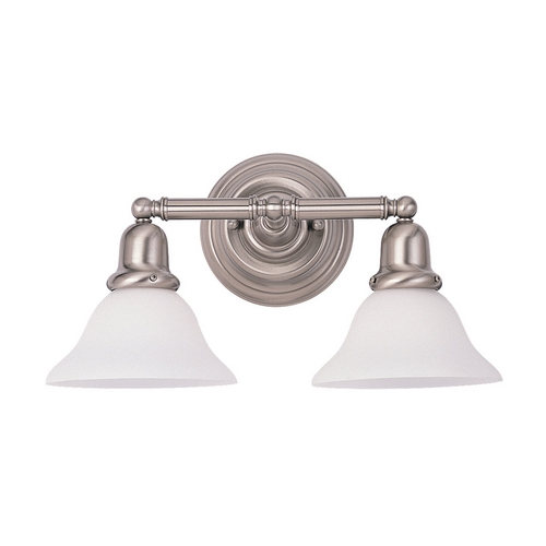 Sea Gull Lighting Bathroom Light with White Glass in Brushed Nickel Finish 44061-962