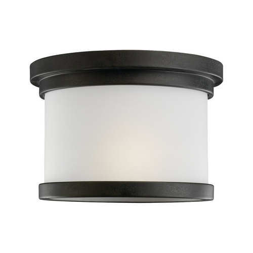 Sea Gull Lighting Modern Close To Ceiling Light with White Glass in Forged Iron Finish 78660-185