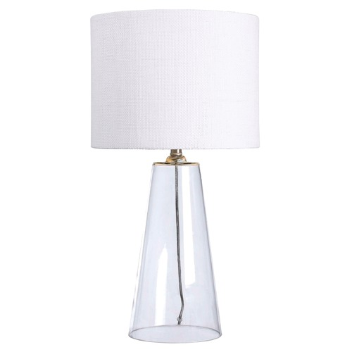 Kenroy Home Lighting Modern Table Lamp with White Shade in Clear Finish 32062CL