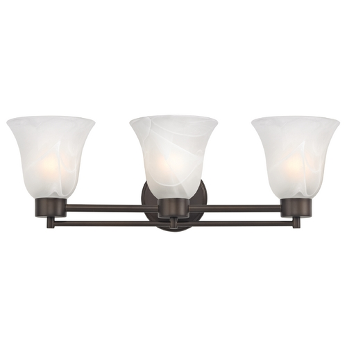 Design Classics Lighting Modern Bathroom Light with Alabaster Glass in Bronze Finish 703-220 GL9222-ALB