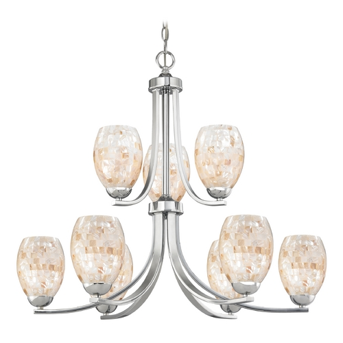 Design Classics Lighting Chandelier with Mosaic Glass in Polished Chrome Finish 586-26 GL1034
