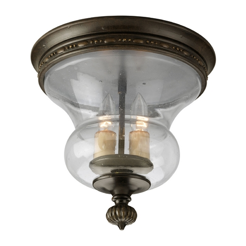 Progress Lighting Progress Flushmount Light with Clear Glass in Forged Bronze Finish P3815-77