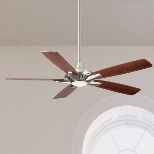 Minka Aire 52-Inch Minka Aire Dyno Brushed Nickel LED Ceiling Fan with Light F1000-BN