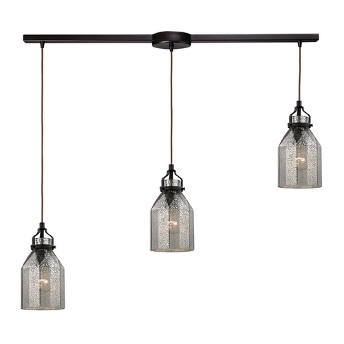 Elk Lighting Multi-Light Pendant Light with Mercury Glass and 3-Lights 46009/3L