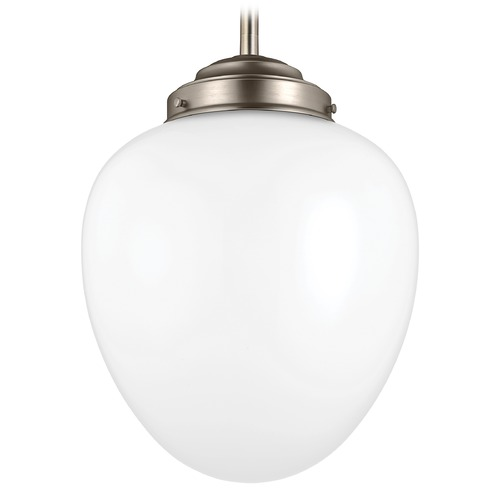 Feiss Lighting Feiss Alcott Satin Nickel LED Pendant Light with Oval Shade P1400SN-LED