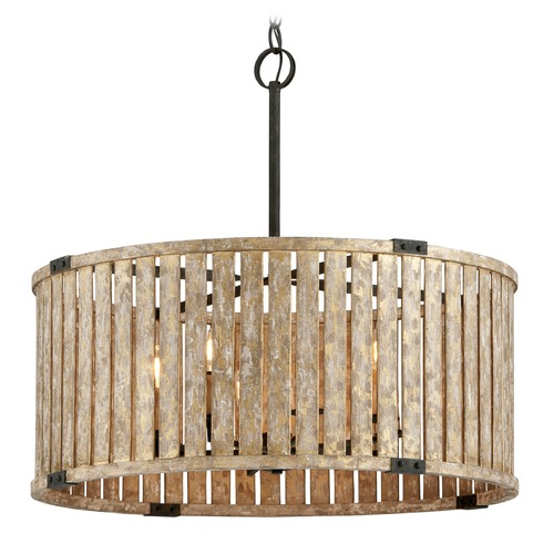 Troy Lighting Troy Lighting Stix Antique Gold Leaf Pendant Light with Drum Shade F5337