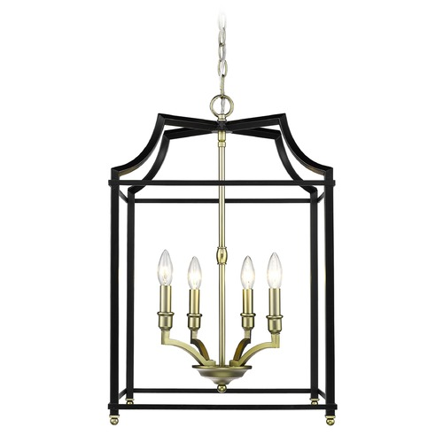 Golden Lighting Leighton SB 4 Light Pendant in Satin Brass with Black 8401-4PSB-BLK