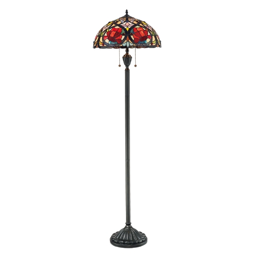 Quoizel Lighting Floor Lamp with Tiffany Glass in Vintage Bronze Finish TF879F