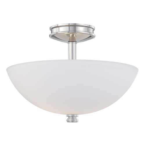 Minka Lighting Modern Semi-Flushmount Light with White Glass in Polish Nickel Finish 1502-613