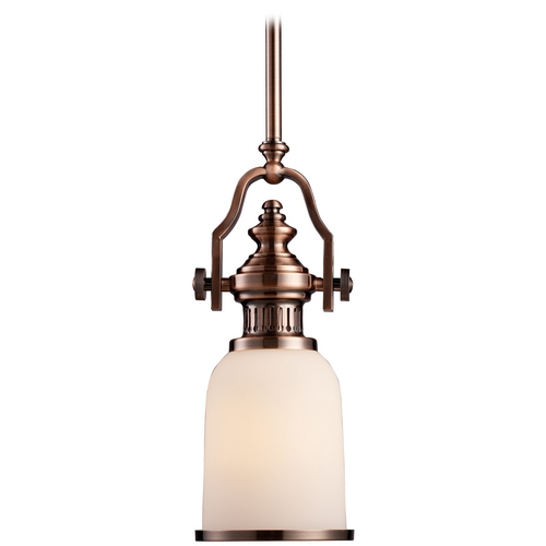 Elk Lighting Mini-Pendant Light with Amber Glass 66142-1