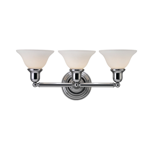 Sea Gull Lighting Bathroom Light with White Glass in Chrome Finish 44062-05