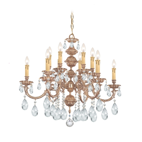 Crystorama Lighting Crystal Chandelier in Olde Brass Finish 2512-OB-CL-S