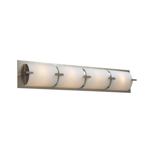 PLC Lighting Modern Bathroom Light with White Glass in Satin Nickel Finish 938 SN