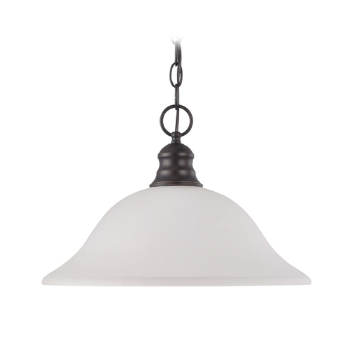 Nuvo Lighting Pendant Light with Beige / Cream Glass in Mahogany Bronze Finish 60/3363