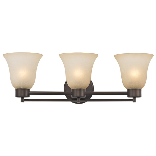 Design Classics Lighting Modern Bathroom Light with Brown Art Glass in Bronze Finish 703-220 GL9222-CAR