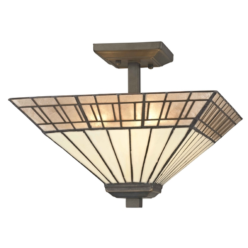 Design Classics Lighting Mission Tiffany Bronze Semi-Flushmount Ceiling Light 1700 TB