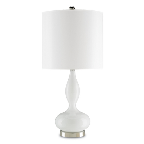 Currey and Company Lighting Currey and Company Lighting Opal White / Polished Nickel Table Lamp with Drum Shade 6484