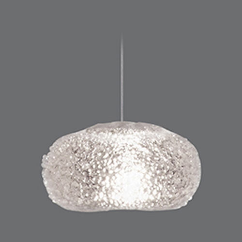 Fine Art Lamps Fine Art Lamps Natural Inspirations Platinized Silver Leaf Mini-Pendant Light with Oblong Shade 851840-12ST