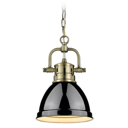 Golden Lighting Golden Lighting Duncan Ab Aged Brass Mini-Pendant Light with Bowl / Dome Shade 3602-M1L AB-BK