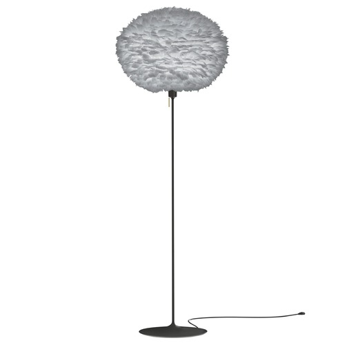 UMAGE Black Floor Lamp with Grey Abstract Feather Shade 3010_4038