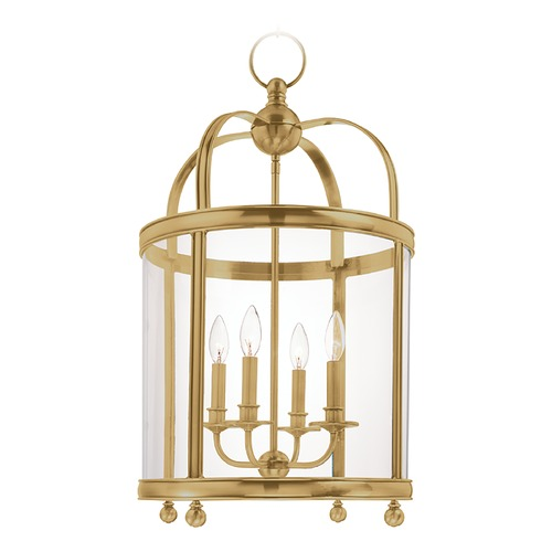 Hudson Valley Lighting Hudson Valley Lighting Larchmont Aged Brass Pendant Light with Drum Shade 7816-AGB