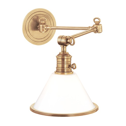 Hudson Valley Lighting Swing Arm Lamp with White Glass in Aged Brass Finish 8332-AGB