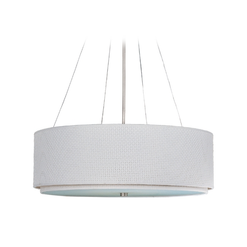 ET2 Lighting Modern Pendant Light with White Shades in Satin Nickel Finish E95065-100SN