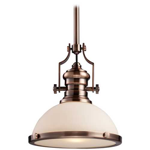 Elk Lighting Pendant Light with White Glass in Antique Copper Finish 66143-1