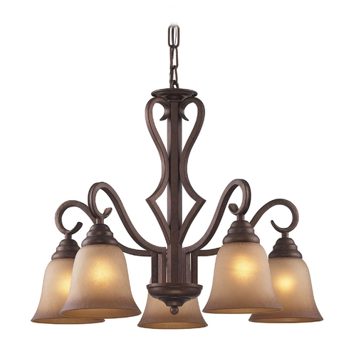 Elk Lighting Chandelier with Beige / Cream Glass in Mocha Finish 9327/5