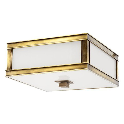Hudson Valley Lighting Flushmount Light with White Glass in Aged Brass Finish 4213-AGB