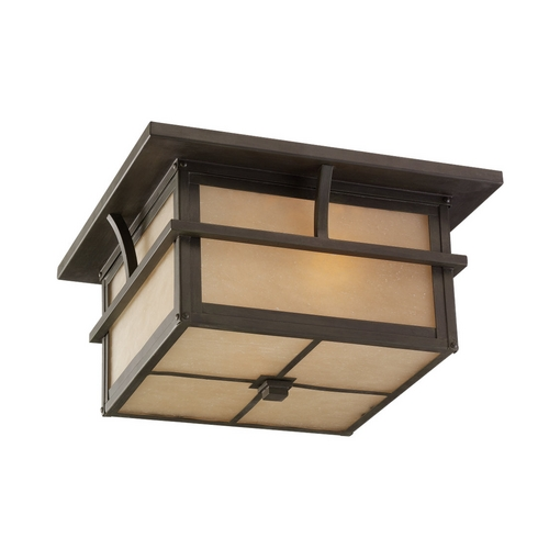 Sea Gull Lighting Close To Ceiling Light with Amber Glass in Statuary Bronze Finish 78880-51