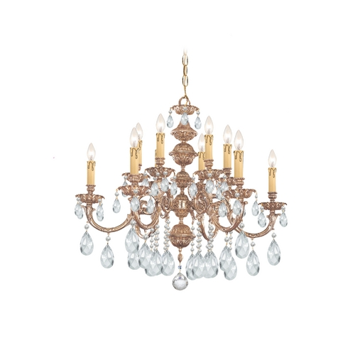 Crystorama Lighting Crystal Chandelier in Olde Brass Finish 2512-OB-CL-SAQ