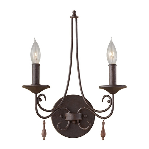 Feiss Lighting Sconce Wall Light in Rustic Iron Finish WB1590RI