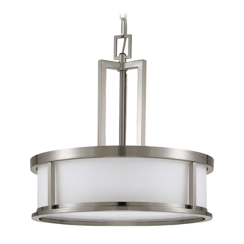 Nuvo Lighting Drum Pendant Light with White Glass in Brushed Nickel Finish 60/3807