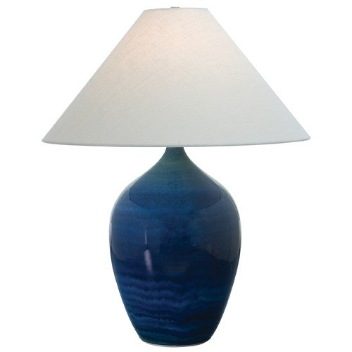 House of Troy Lighting House of Troy Scatchard Blue Gloss Table Lamp with Conical Shade GS190-BG