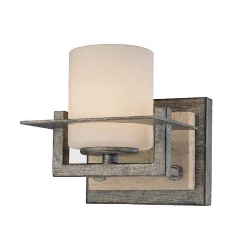 Minka Lavery Sconce Wall Light with White Glass in Aged Patina Iron Finish 6461-273