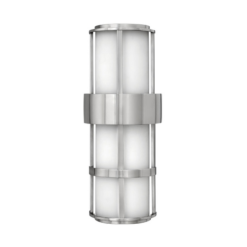 Hinkley Lighting Modern Outdoor Wall Light with White Glass in Stainless Steel Finish 1909SS