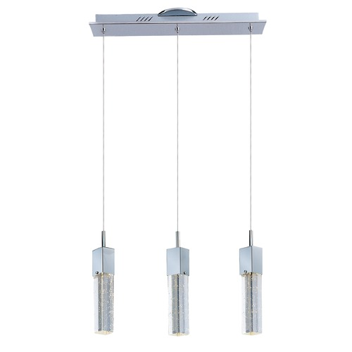 ET2 Lighting Fizz Iii Polished Chrome LED Multi-Light Pendant with Rectangle Shade E22763-89PC